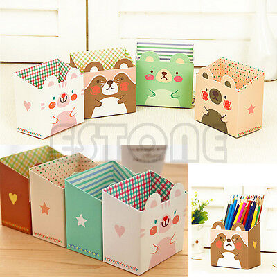 Cute Cat Cartoon Paper Stationery Makeup Cosmetic Desk Organizer Storage Box - Diy Desk Organizer
