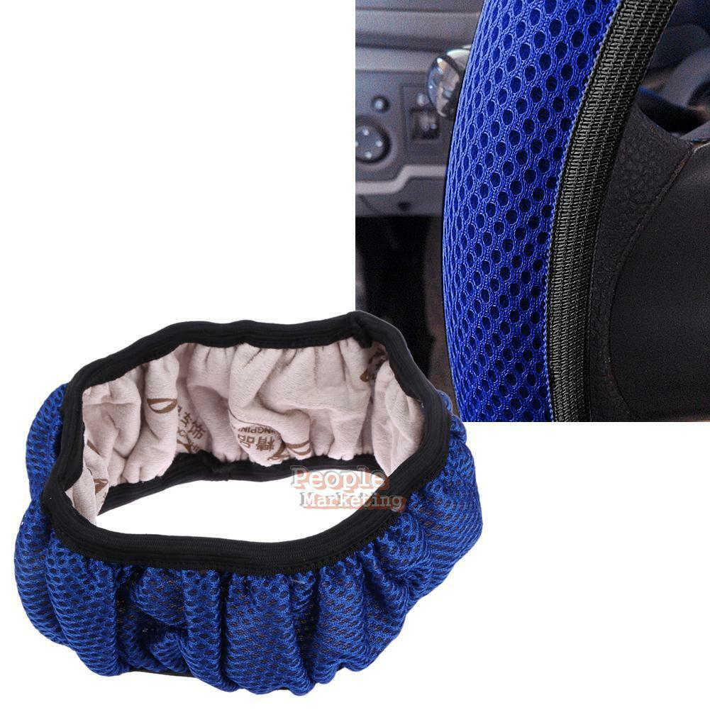 Breathable Anti-slip Handbrake Car Auto Steering Wheel Cover Cars Steering Blue