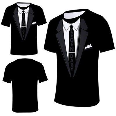 Drucken Mens Tee (Anzug Krawatte Smoking 3D-Druck Mens Funny T-Shirt Casual Kurzarm Graphic Tee)