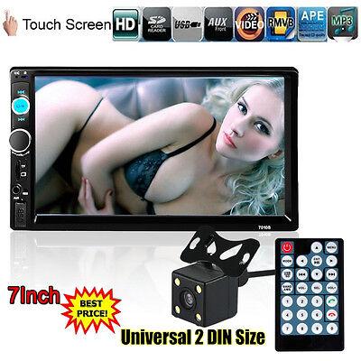 "7"" 2 Din In Dash Stereo Car MP5 Player Bluetooth Touchscreen Radio FM Aux+Camera"