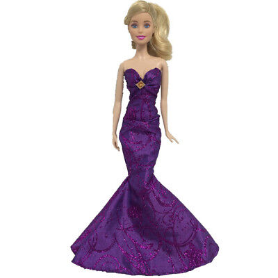 Purple Royalty Mermaid Dress Party Dress/Wedding Clothes/Gown For - Mermaid Doll Dress