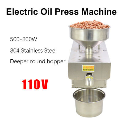 110v Stainless Steel Automatic Oil Press Extraction Machine Oil Mill Commercial