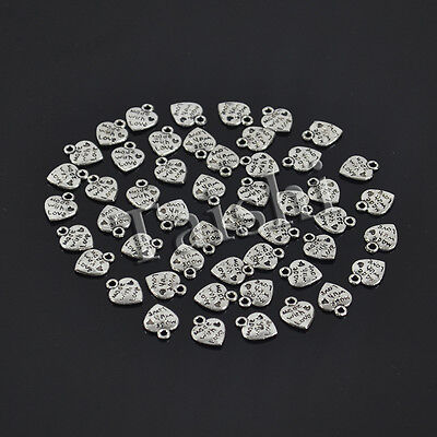 50 Pcs  Silver Colored Made with Love Heart Charm Metal Pendant Beads DIY 9x10mm