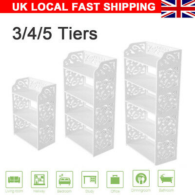 White 3/4/5 Tiers Shoe Rack Stand Storage Organiser Unit Shelf Home UK Sale