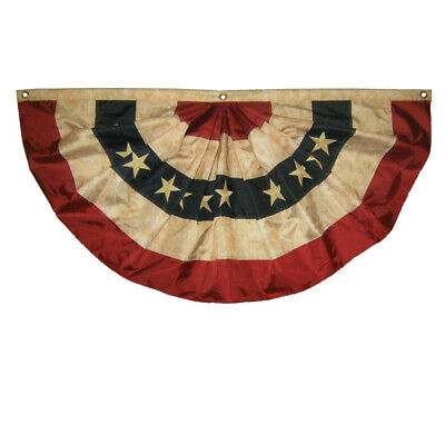 Vintage Tea Stained Red White And Blue 6' American Fan Flag Bunting (Red White And Blue Bunting)