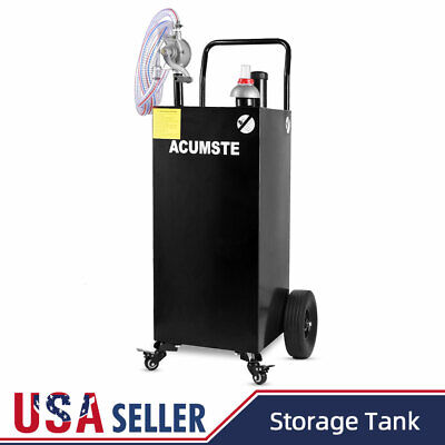 35 Gallon Gas Fuel Diesel Caddy Transfer Portable Tank With Pump Container Black