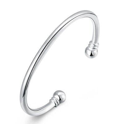 Womens Silver Love Cuff Ball End Open Bangle Fashion Bracelet #B135