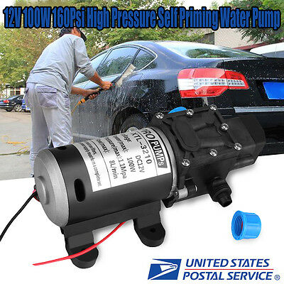 High Pressure Diaphragm Self Priming Water Pump 12v Dc 100w 160psi 8lmin Fwash