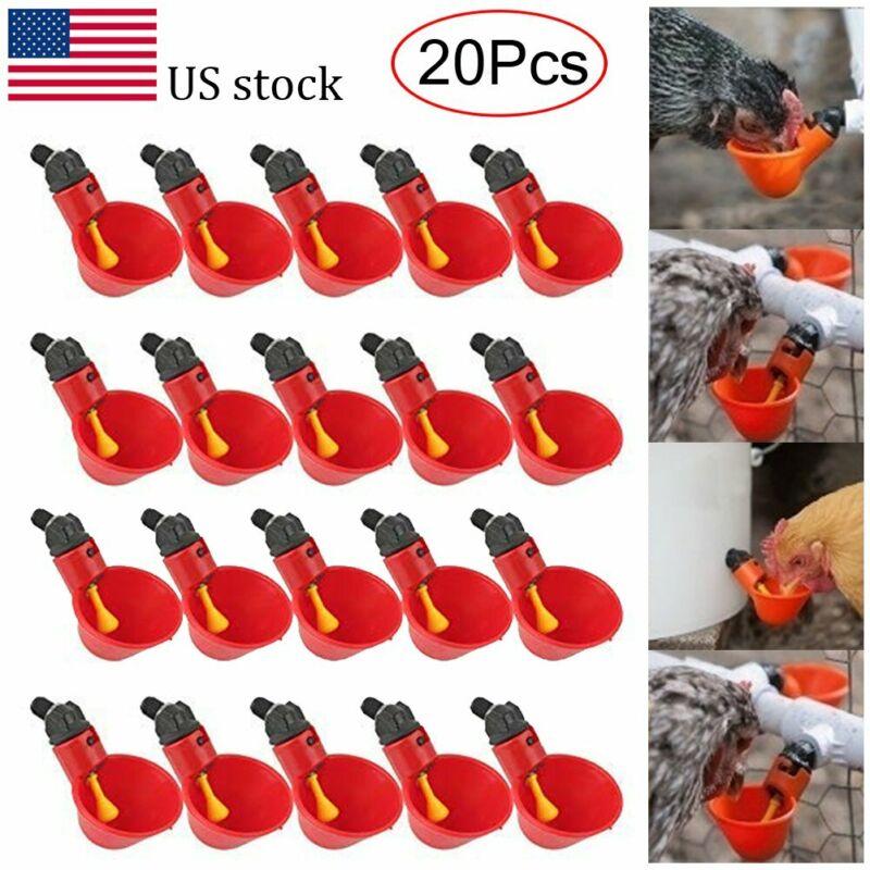 20pcs Poultry Water Drinking Cups Waterer Chicken Hen Plastic Automatic Drinker