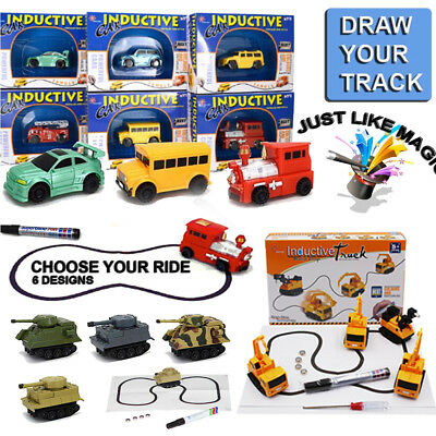Lot Magic Pen Inductive Car Tank Truck Toy Automatic Follow-Line You Draw Toys