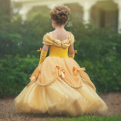 Girls Beauty and the Beast Belle Princess Dress Costume for Kids Birthday Party - Costume Dress For Kids