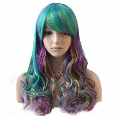 Pastel Rainbow Wig ( 21.5'' Long Wavy Blue Pastel Rainbow Color Ombre Wig Durable)