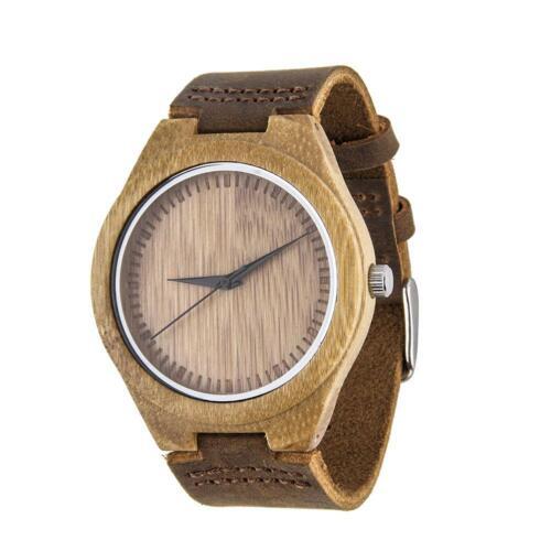 Beliebte Luxus Herren Damen Bambus Holz Quarzuhr PU Leder Armbanduhren KS