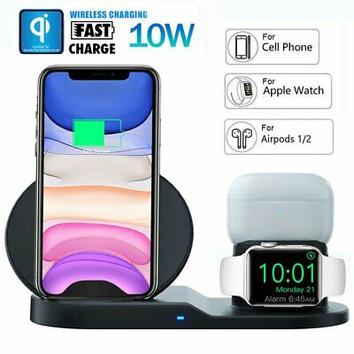 3 in 1 Wireless Charger Qi Fast Charging Dock for Apple Watch and Airpod iPhone