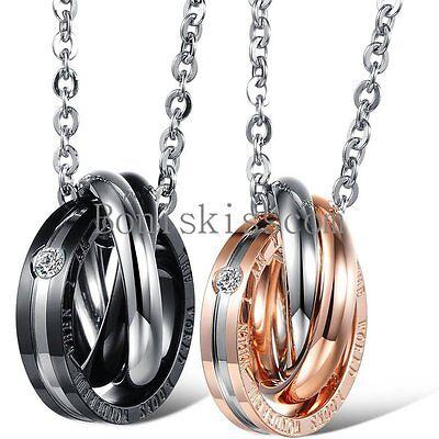 Love Promise Ring Couple Pendant Necklace Boyfriend Girlfriend Valentine Gift ()