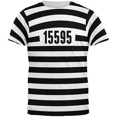 Halloween Prisoner Old Time Striped Costume All Over Adult T-Shirt