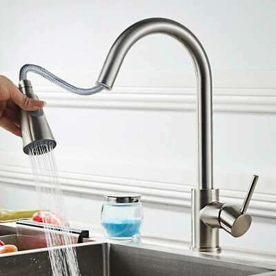 Brushed Nickel Mixer Pull Down Sprayer Single Handle Kitchen Faucet Sink Tap US2