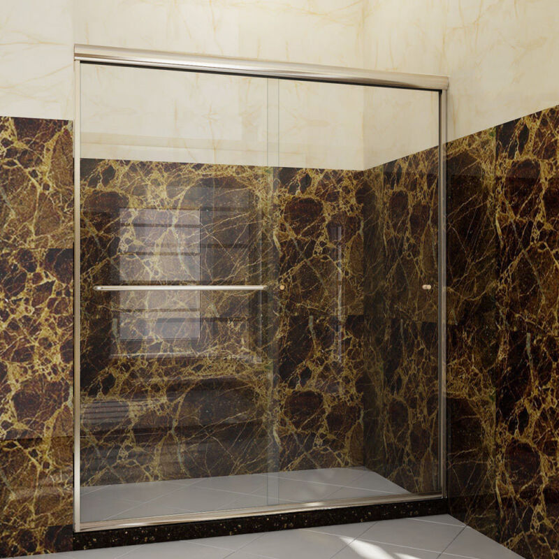 """SUNNY SHOWER 60"""" x72"""" Shower Door Bypass Sliding Brushed Nickel with Clear Glass"""