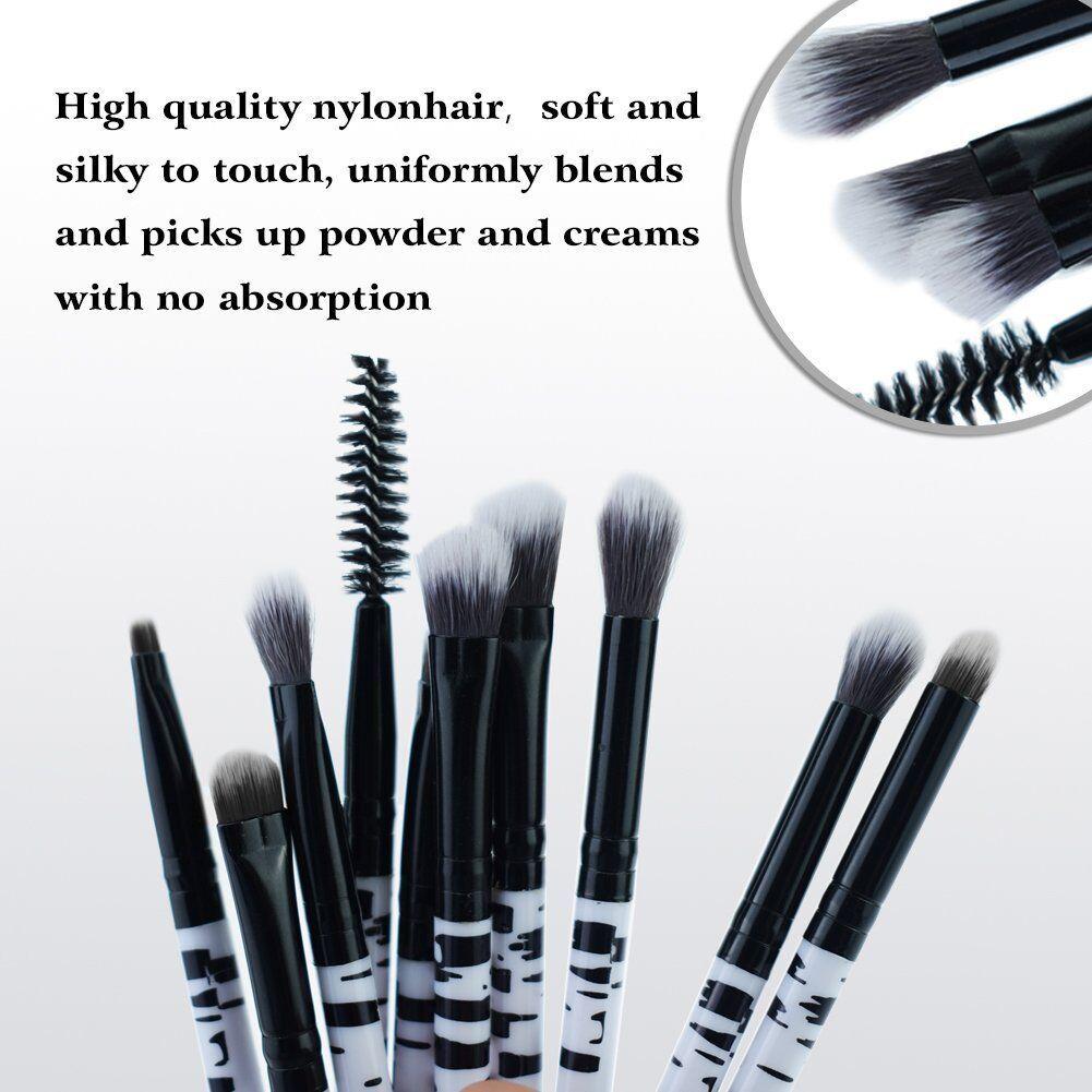 Zebra Pattern Make up Brushes Professional 10 Pieces