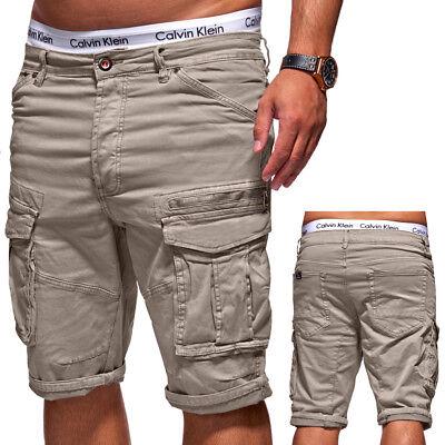 BEHYPE Herren Shorts Jeans-Bermuda Kurze Cargo Hose Beige/Schwarz/Grau/Khaki NEU ()