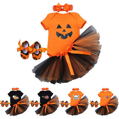 Halloween Fancy Pumpkin Costume for Girls Baby Romper Skirt Dress 4pcs Outfits