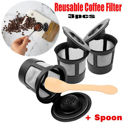 x3 for K-Cup Reusable Replacement Coffee Filter Refillable Holder Pod Spoon