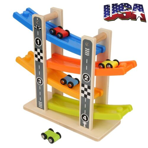 Wooden Race Track Car Ramp Racer With 4 Mini Cars For Toddle