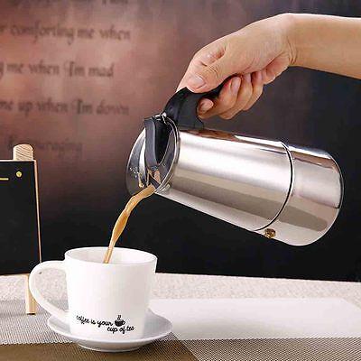 UK Portable Stainless Steel Moka Coffee Pot Maker Percolator Stovetop 2Cup 100ml