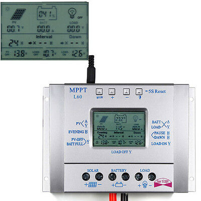 60A MPPT Solar Panel Regulator Battery Charger Controller 12/24V With LCD USB LG