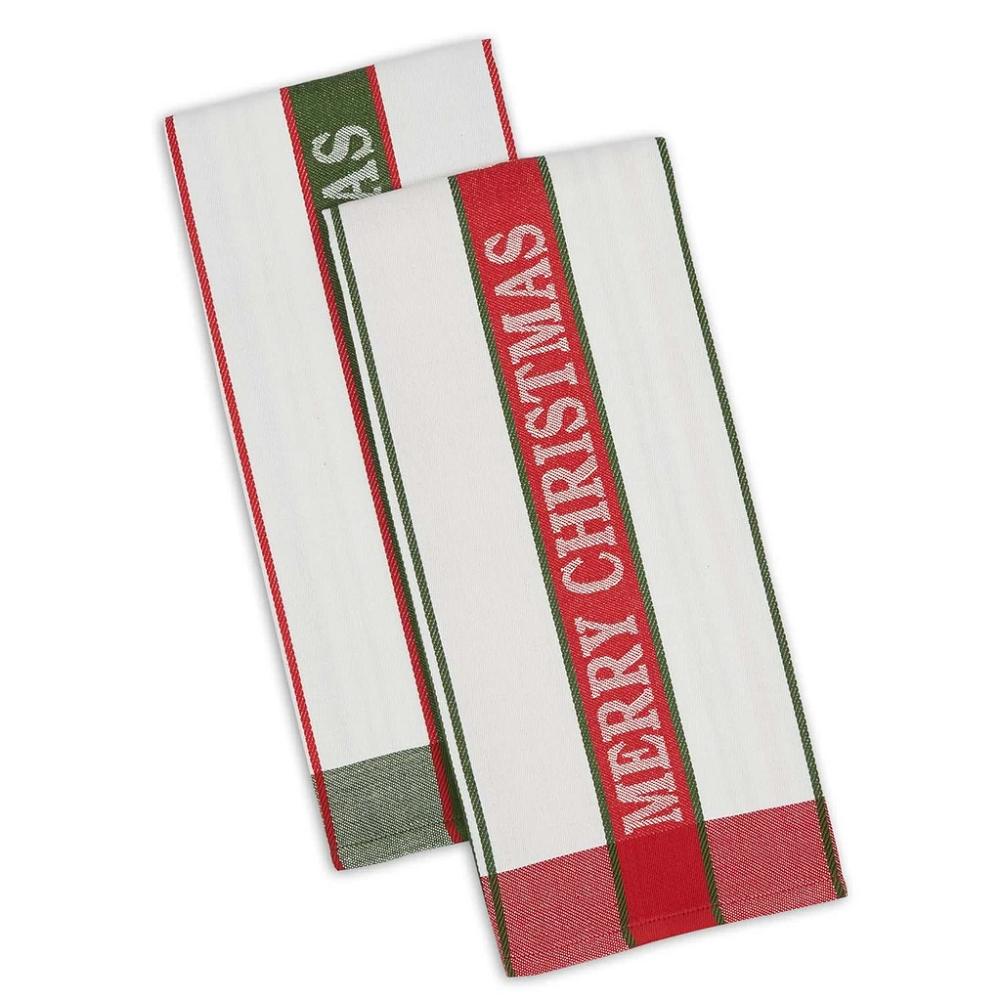 2 Piece Set MERRY CHRISTMAS Jacquard Weave 100% Cotton Kitch