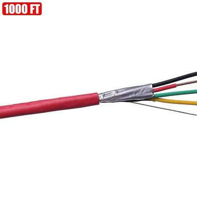1000ft Shielded Solid Fire Alarm Cable 224 Copper Wire 22awg Fplp Cl3p Ft6 Red