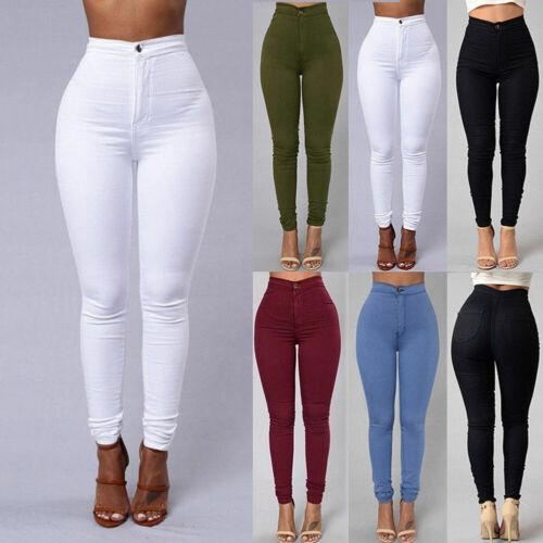 Women Denim Skinny Leggings Pants High Waist Stretch Jeans R