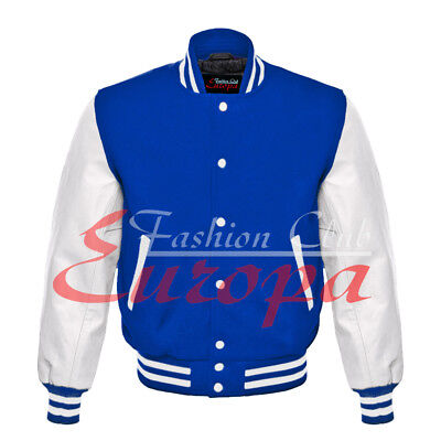 Royal blue Varsity  Letterman Wool Jacket with White Real Leather Sleeves XS-4XL - Wholesale Letterman Jackets