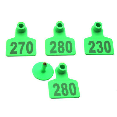 Plastic Livestock Ear Tag No.201-300 Identification Tag For Pig Goat Sheep Green