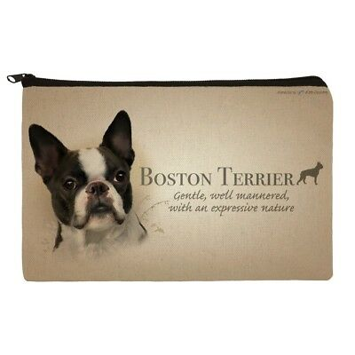 Boston Terrier Dog Breed Makeup Cosmetic Bag Organizer Pouch