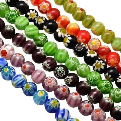 40 Wholesale Beads Millefiori Assorted Lot Bulk 8mm Floral Mixed Set
