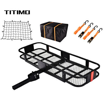 550LB Folding Hitch Mount Cargo Carrier Luggage Basket Rack Fits 2