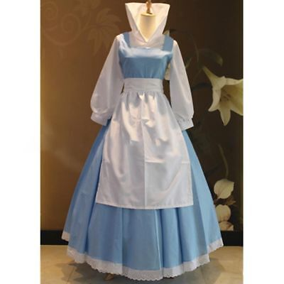 Beauty and the Beast Belle Blue Princess Dress Maid Cosplay Costume Fashion New