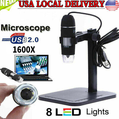 8led 1600x 10mp Usb Digital Microscope Endoscope Magnifier Cameralift Stand