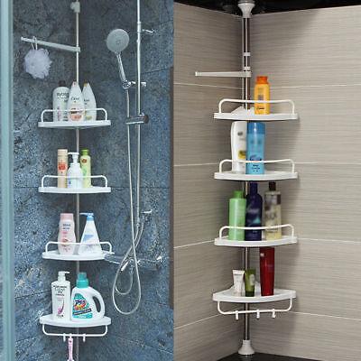Bathroom Bath Shower Gel Caddy Shampoo Storage Rack Shelf Stainless Steel Pole Bath Shower Shampoo Gel