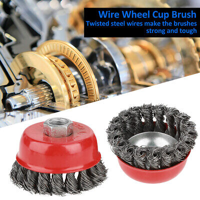 Steel Knot Brush - 4 Pcs Rotary Knot Flat Steel Wire Cup Brush for Angle Grinder Rust Paint Removal