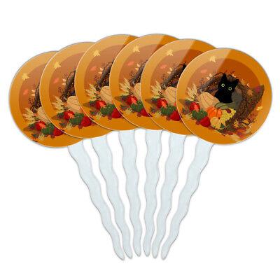Thanksgiving Black Cat Cornucopia Cupcake Picks Toppers Set