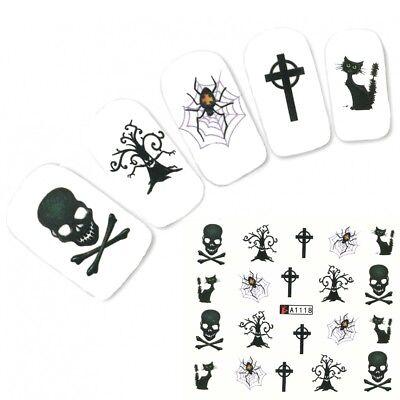 Tattoo Nail Halloween Totenkopf Katze Aufkleber Nagel Sticker Nägel (Tote Katzen Halloween)