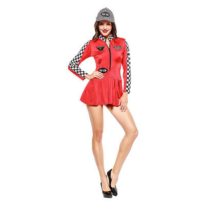 Womens Long Sleeve Checker Racer Girls Mini Dress Roleplay Halloween Costume - Halloween Racer Girl Costumes
