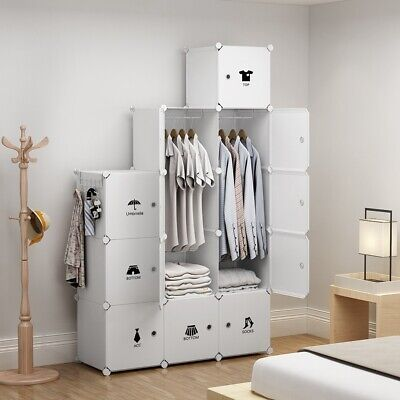 Portable Wardrobe Storage Closet Plastic Armoire, White, 3x5Tier T, 18