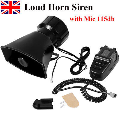 New 7 Tone Sound Car Police Siren Horn with Mic PA Speaker System DC 12V 100W