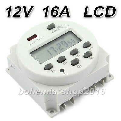 Digitale DC/AC 12V 16A LCD Zeitschaltuhr Programmierbar Timer Schalter Zeit Gut