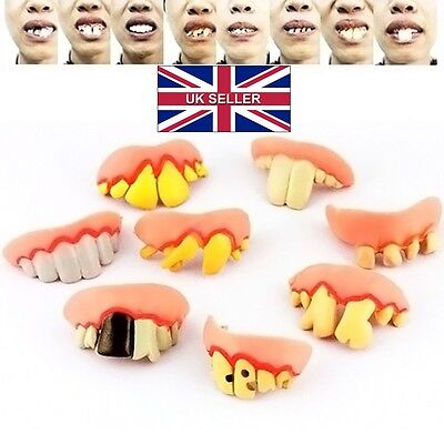 UK Funny Bogan Hillbilly Ugly False Fake Teeth Dress Up Halloween  Party C036
