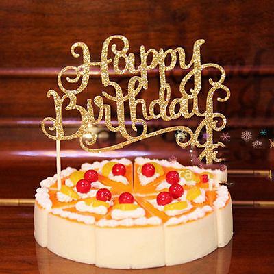 Neu Happy Birthday Kuchenstecker Cake Tortenfigur Topper Tortenaufsatz Glitter ()