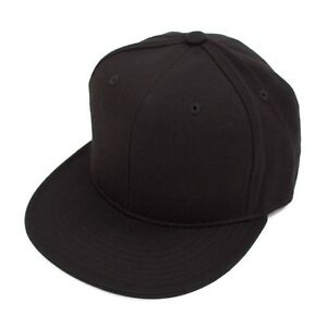 New Fitted Baseball Hat Cap Plain Basic Blank Color Flat Bill Visor Ball Sport